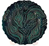Bead Global Hand Painted Turkish Tulip Design Decorative Ceramic Plate Wall Hanging, Plates Display - Kitchen Home Decor (Turquoise)