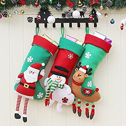 Eachbid Christmas Socks Santa Claus Gifts Bag Candy Bag Christmas Stocking Knifes Folks Bag - Elk1