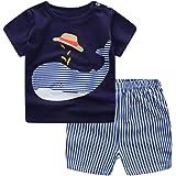 Conjunto Bebé Verano ❤️ Amlaiworld Recién Nacido Infantil Bebé Niño Niña Dibujos Animados Tops Camisas Camiseta Chaleco y Pantalones Cortos Conjuntos de Ropa Trajes