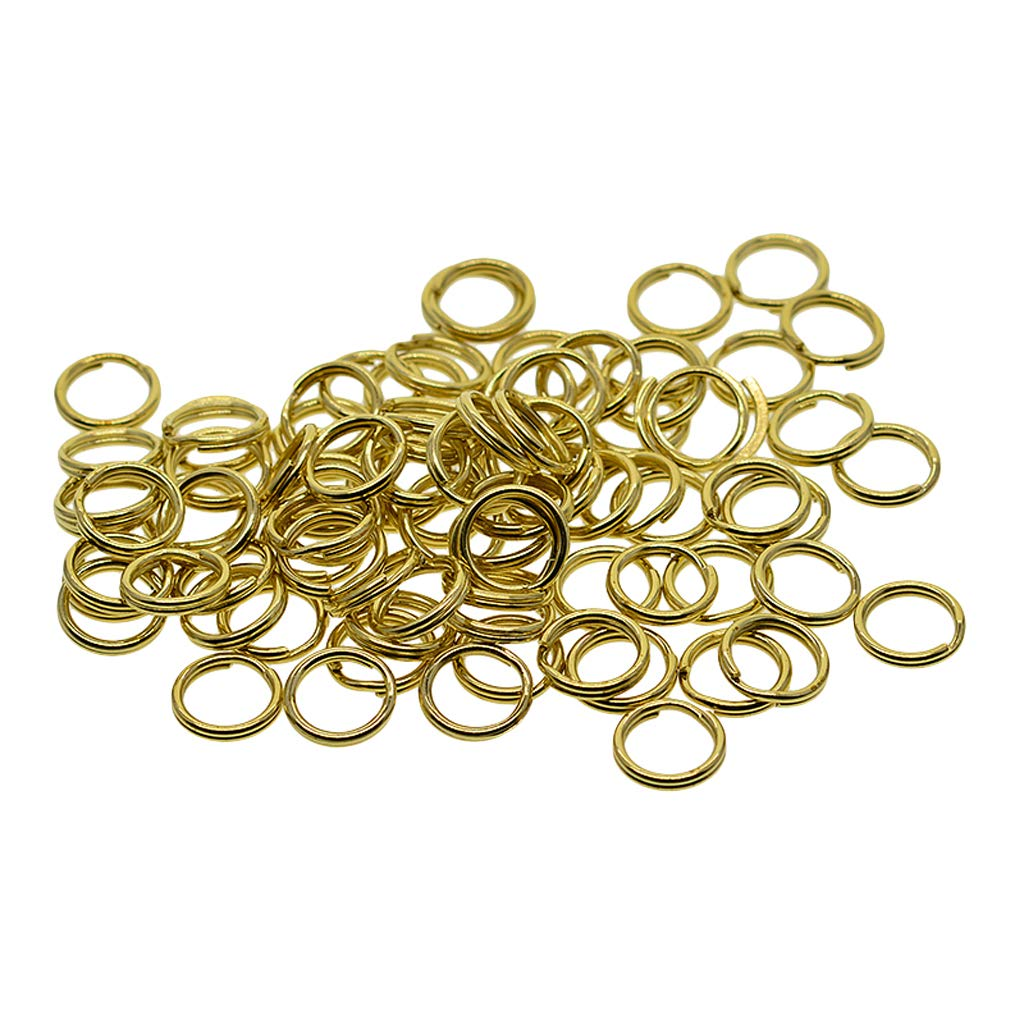 non-brand Sharplace 50pcs Round Split Ring Key Rings 10mm Diameter For for Jewelry Making Gold Tone