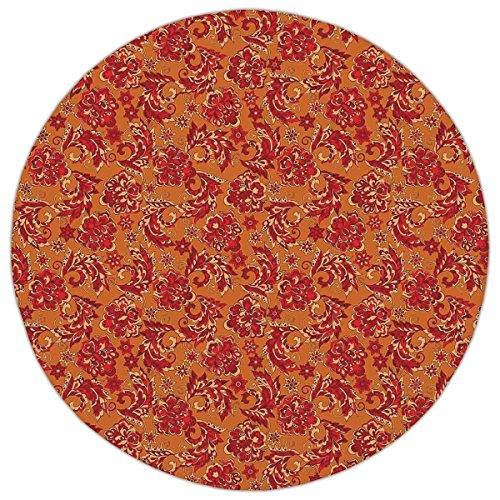 - Round Area Rug Mat Rug,Batik Decor,Nostalgic Western European Medieval Renaissance Inspired Eastern Boho Pattern,Red Orange,Home Decor Mat with Non Slip Backing