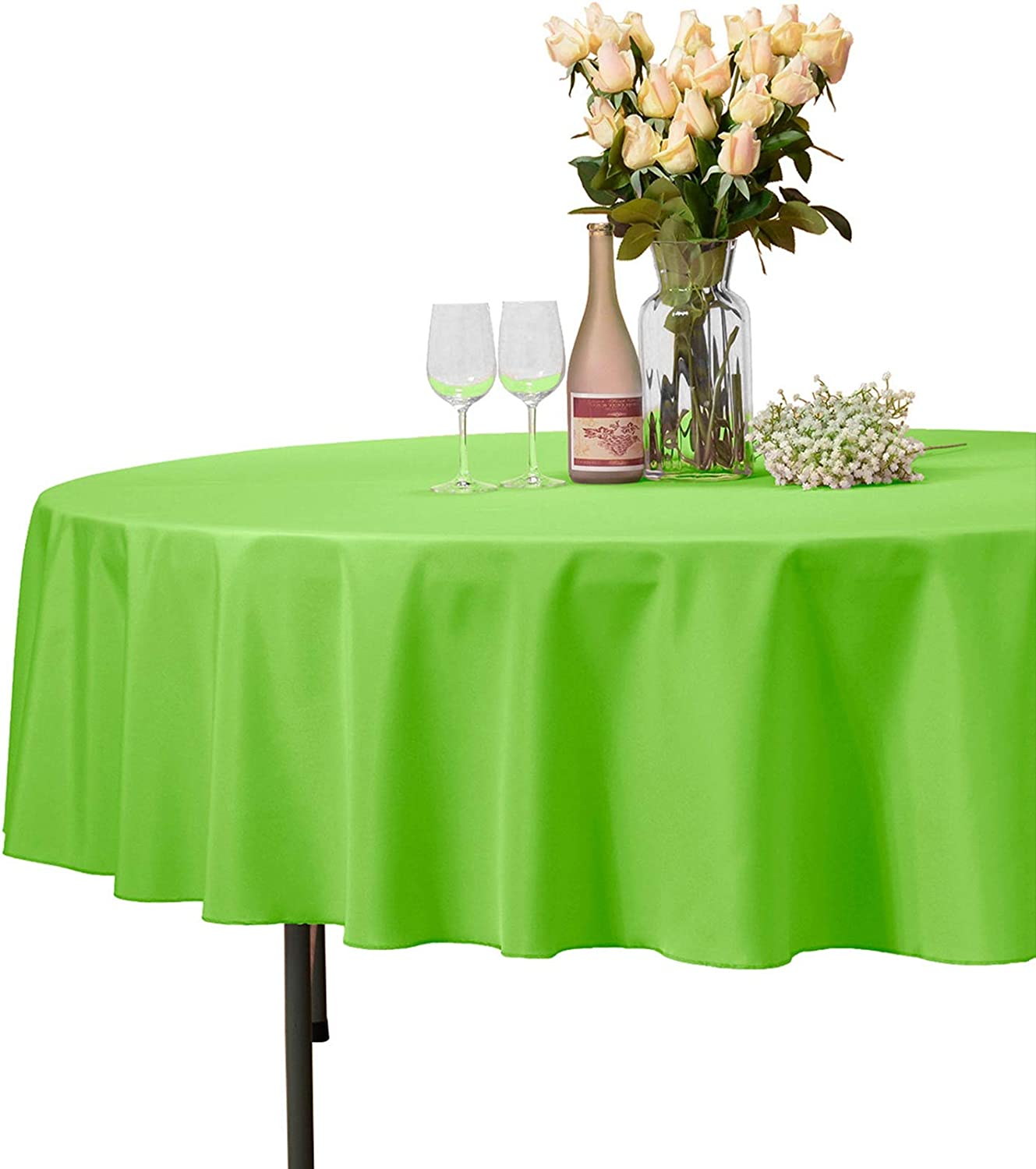 """VEEYOO 70"""" Inch Round Tablecloth 100% Polyester Circular Wrinkle Free Table Cloth – Solid Soft Dinner Table Cover for Buffet Table, Wedding, Parties and Dinner (Apple Green Table Cloths)"""