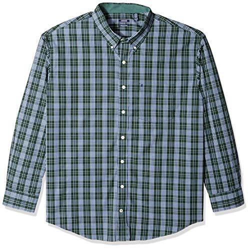 IZOD Men's Premium Essential Plaid Long Sleeve Shirt (Big Tall Slim), Darkest Spruce, X-Large Tall - Dress Green Gingham