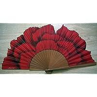 """Abanico""""Clavel rojo"""" seda natural pintado y montado a mano"""