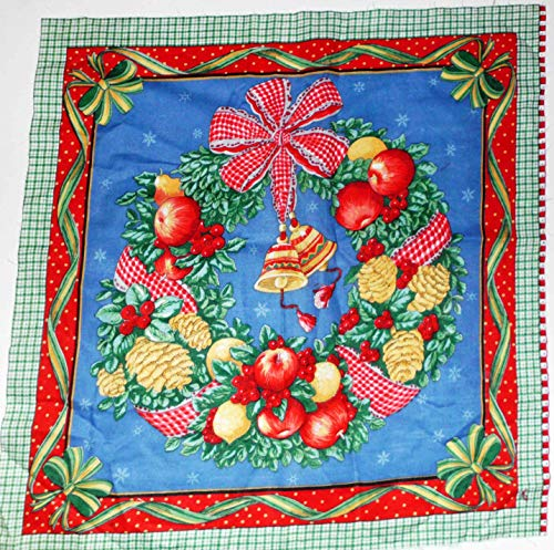 Christmas Country Holiday Wreath Print Crafting Cotton Fabric Panel 17