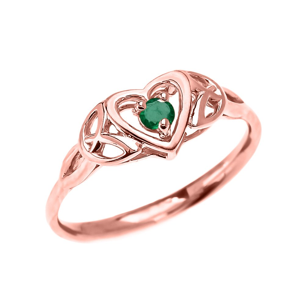 Dainty 10k Rose Gold Trinity Knot Heart Solitaire Emerald Engagement and Proposal Ring (Size 6.75)