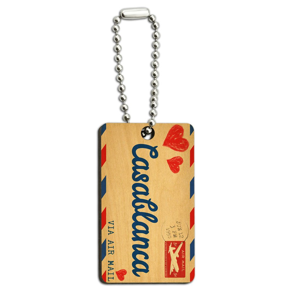 Air Mail Postcard Love for Casablanca Wood Wooden Rectangle Key Chain