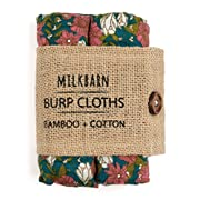 Milkbarn Bamboo and Cotton Burp Cloths  Teal Floral  - Set of 2,Teal Floral,23  x 23
