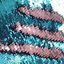 TRLYC One Yard 5MM Reversible Sequin Fabric Turquoise and Rose Pink Sequin Fabric, By the Yard, Mermaid Sequin Fabric, Linen