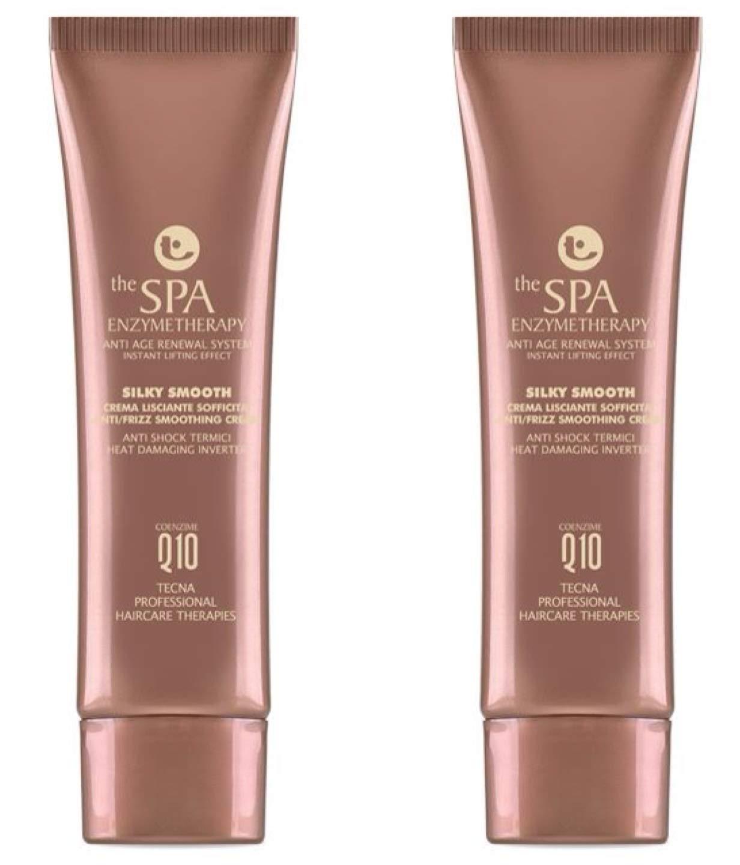 Tecna the spa enzymetherapy Silky Smooth DUO PACK 2 x 75 ml crema lisciante per capelli morbidi con Coenzima Q10 e seta idrolizzata 150ml PROMOZIONE SPEDIZIONE GRATUITA