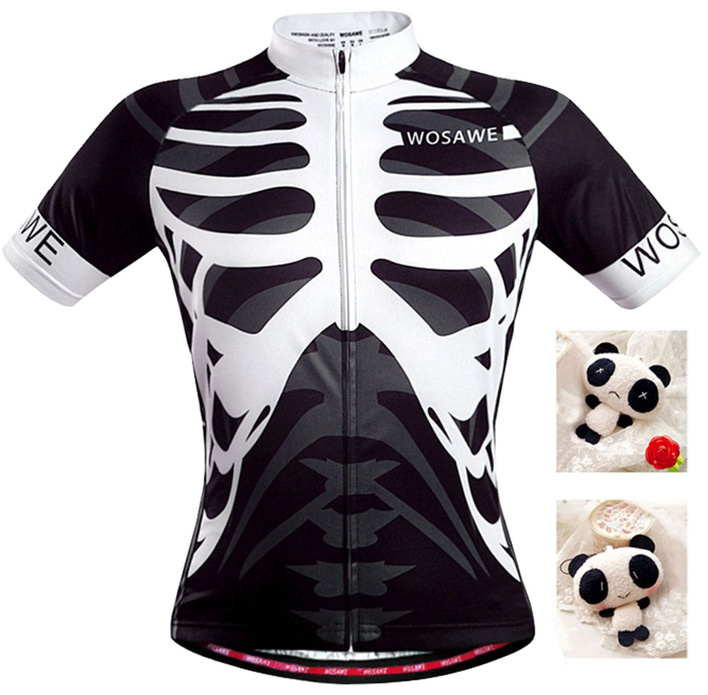 EkarLam Women's Short Sleeve Skeleton Outdoor Riding Cycling Jersey Tops Shirt Janeyer
