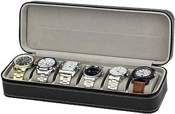6 Slot Caja De Relojes De Almacenamiento, Portátil Viajar Cremallera Exhibición De Organizador De Relojes Y Joyas (Negro): Amazon.es: Relojes