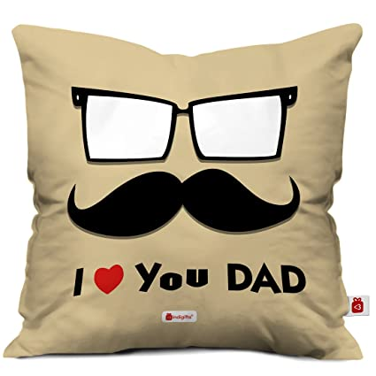 Indigifts Fathers Day Gifts From Daughter Love You Dad Quote Father Artistic Face Illustration Brown Cushion