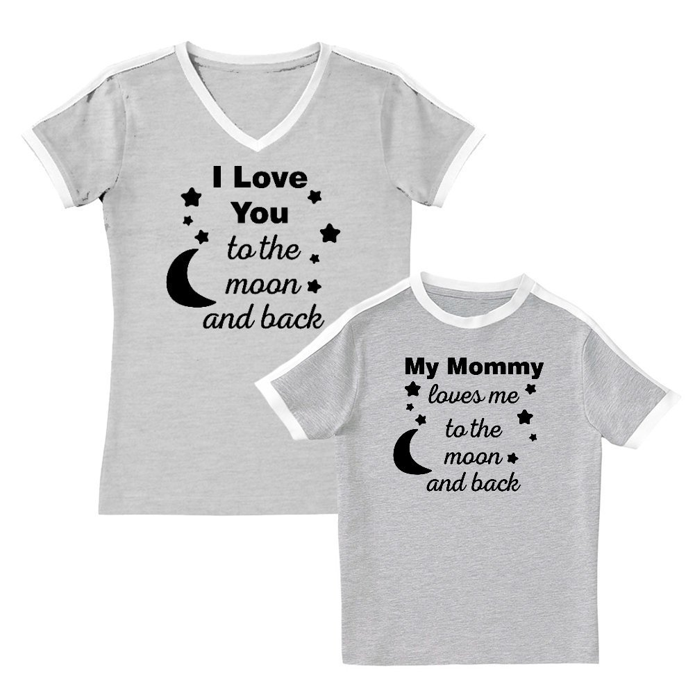 We Match!! - My Mommy Loves Me to The Moon & Back - Matching Women's Soccer Ringer T-Shirt & Kids T-Shirt Set (YTH X-Large, Women's Medium, Heather, Black Print) by We Match!
