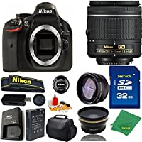 Great Value Bundle for D5200 DSLR – 18-55mm AF-P + 32GB Memory + Wide Angle + Telephoto Lens + Case