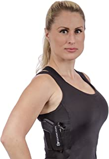 product image for CCW Tactical Holster Shirt Tank Top for Concealed Carry and Workout Womens Compression Fit with Right and Left Hand Draw Handgun and Magazine Pockets, All Season Moisture Wicking, Black