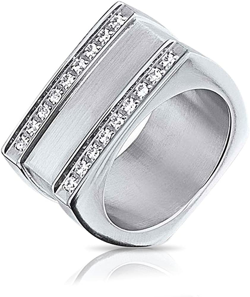 Bling Jewelry Mens Geometric Cubic Zirconia CZ Engravable Rectangle Signet Ring for Men Silver Tone Stainless Steel