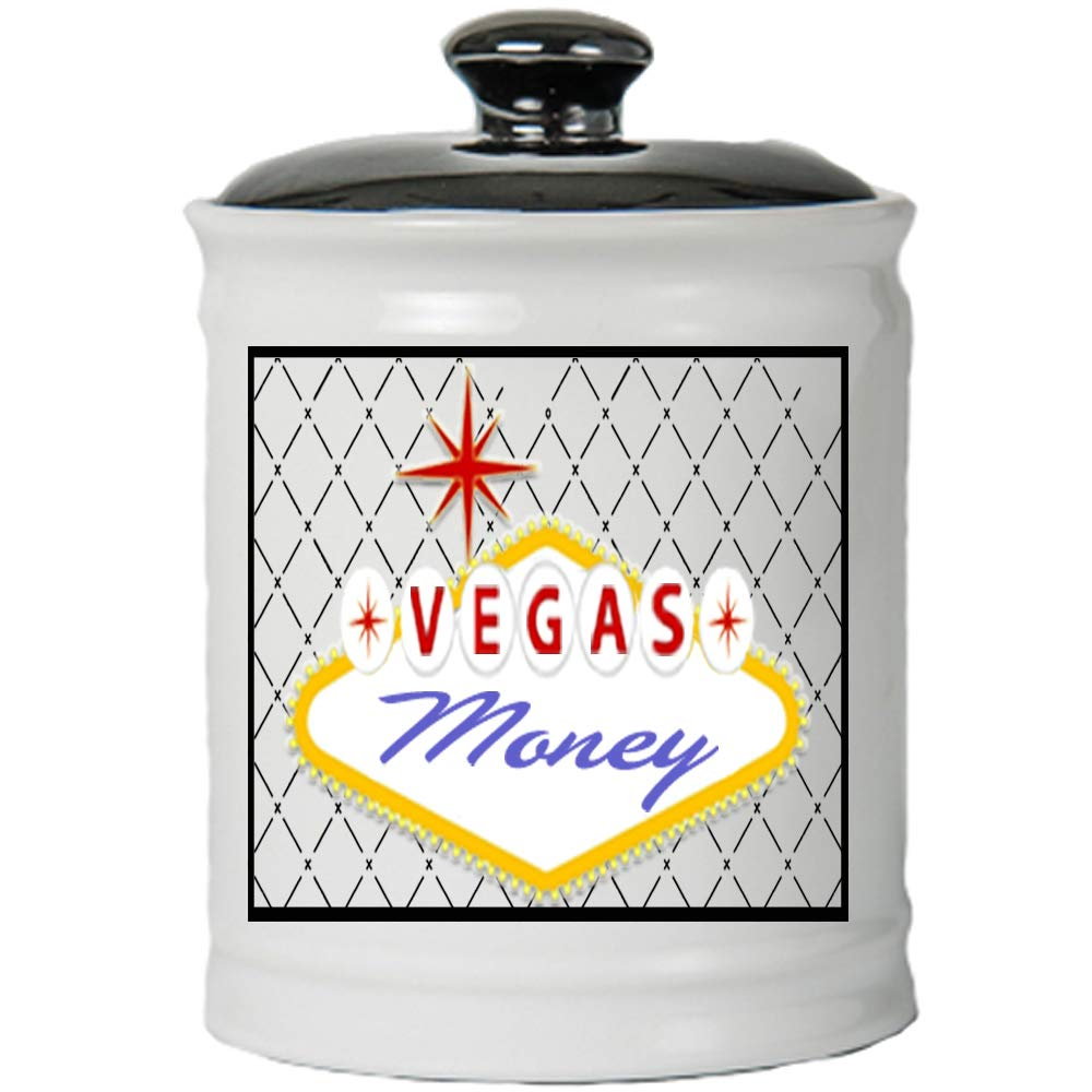 Cottage Creek Las Vegas Gifts Vegas Money Jar/Round Ceramic Las Vegas Piggy Bank Vegas Coin Bank [White]