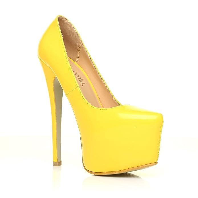 8617dbabbbd31f High Heels Stöckelschuhe Donna gelbes Lackleder PU Leder Stilettos sehr  hoch Plateau Pumps - Gelbes Lackleder