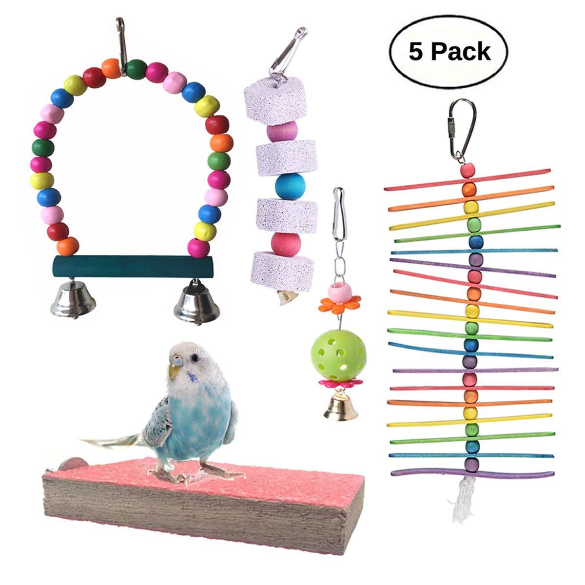 Vehomy 5pcs Parrot Toys Bird Beak Grinding Stone Bird Chewing Toy Bird Hanging Bell Bird Perch Pet Bird Cage Hammock Swing for Parakeets, Cockatiels, Conures, Macaws, Lovebirds, Finches