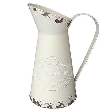 HyFanStr Rustikalen Stil Metall Krug Deko Blume Vase Primitive Kanne  Cremefarben