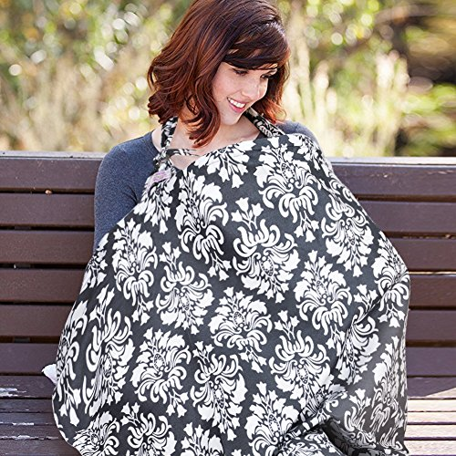 Nursing Cover, UHINOOS Lightweight Breathable 100% Cotton Breastfeeding Cover, Nursing Apron for Breastfeeding - Rigid Neckline, Full Coverage and Adjustable Strap from UHINOOS