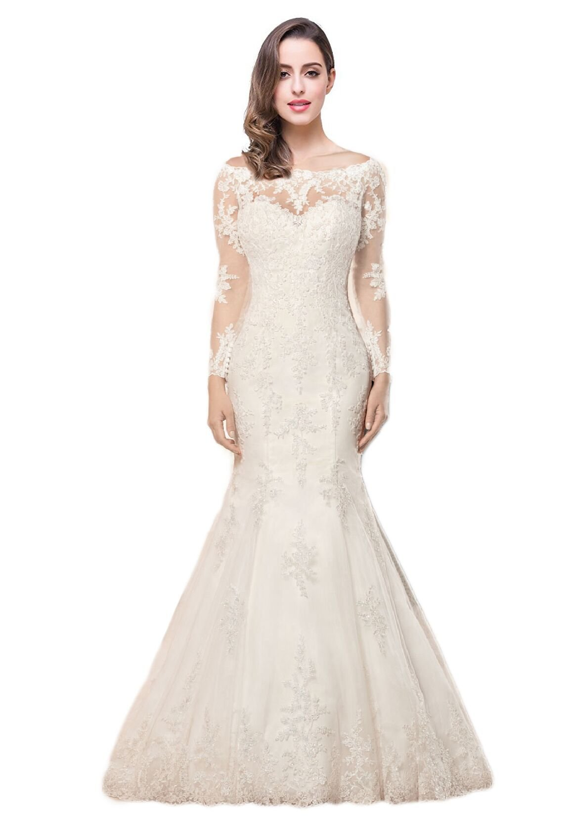 OYISHA 2017 Lace Mermaid Wedding Dress Open Back Lace up Bridal Gown WD166S Ivory 6