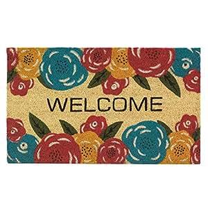 Bienvenido, casa de flores Felpudo fibra de coco para exteriores de entrada Cable de rasqueta Felpudo
