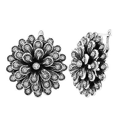Vintage Jewelry Flower Fashion Trendy Crystal Women Earrings Rhinestone Stud