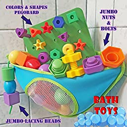 Lacing Shapes and Colors Pegboard Building Puzzle Set with Pattern Card, Bonus Travel Backpack & 36pg Activity eBook Montessori Fine Motor Color Recognition Sorting Counting Matching Stacking Toy Kids