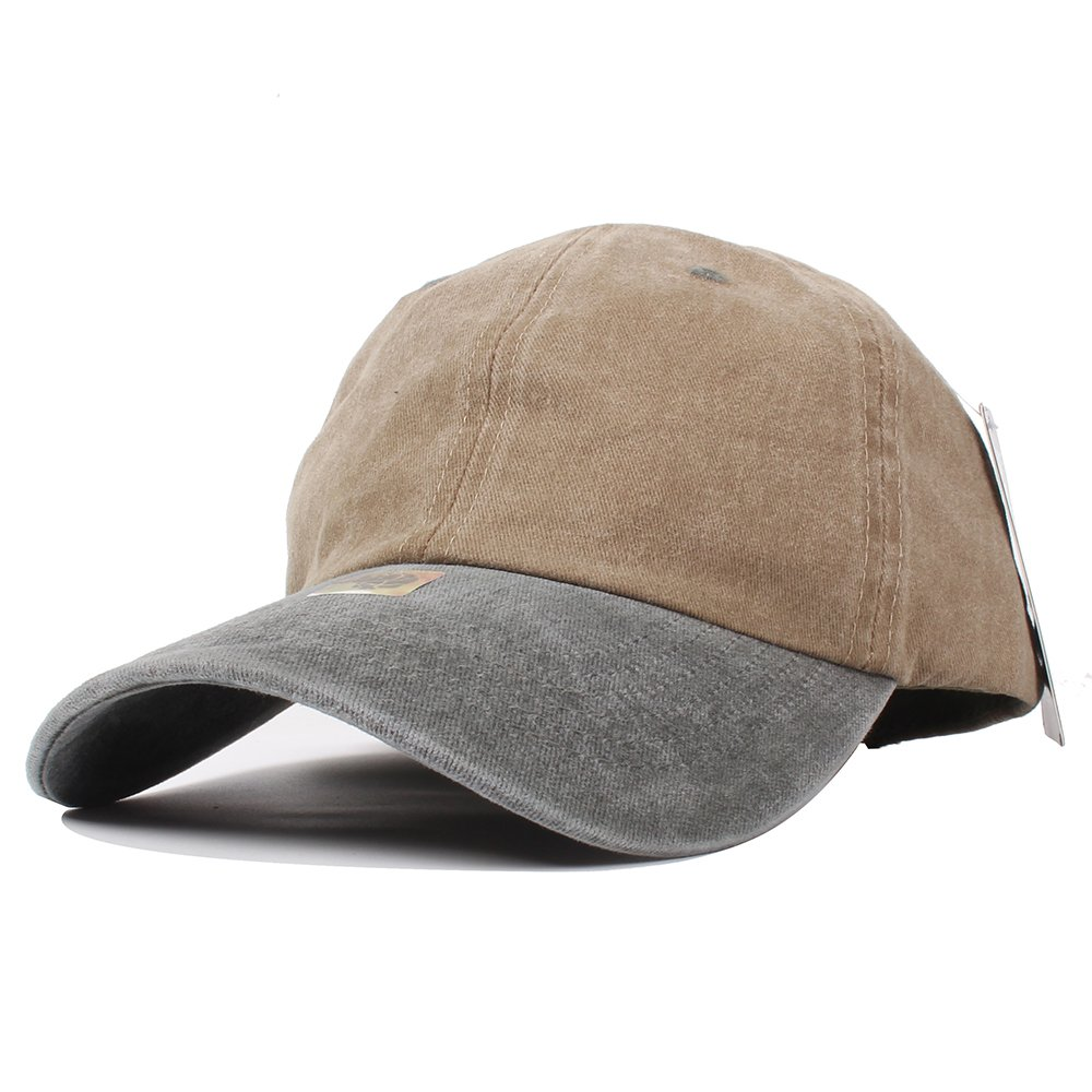 Vankerful Unisex Washed Baseball Cap Pigment Dyed Two Tone Low Profile Adjustable Six Panel Cap Sun Cap