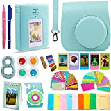 DNO Fujifilm Instax Mini 9 Camera Accessories | ICE BLUE Protective Case w/Strap + Hanging and Sticker Frames + Color Filters + Selfie Close-Up Lens + Photo Album + MORE (14 piece)