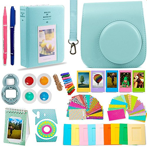 DNO Fujifilm Instax Mini 9/8 Camera Accessories (11 Piece Kit) – Includes Protective Case/ Hanging Frames/ Filters/ Selfie Len/ Photo Album/ Stickers and More – Portable & Perfect Gift (Ice Blue)