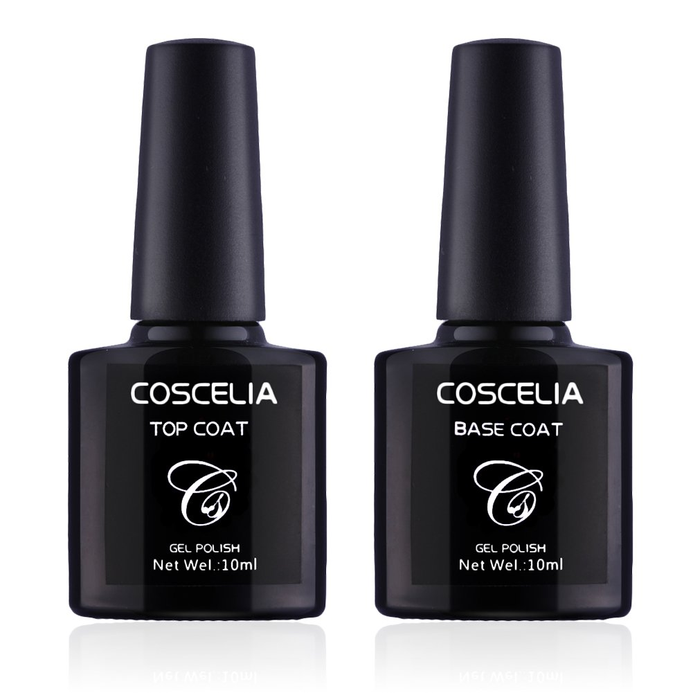 Coscelia Base Coat y Top Coat Semipermanente Esmalte Semipermanente de Uñas Gel UV LED Color 2pcs Kit de Manicura Soak off