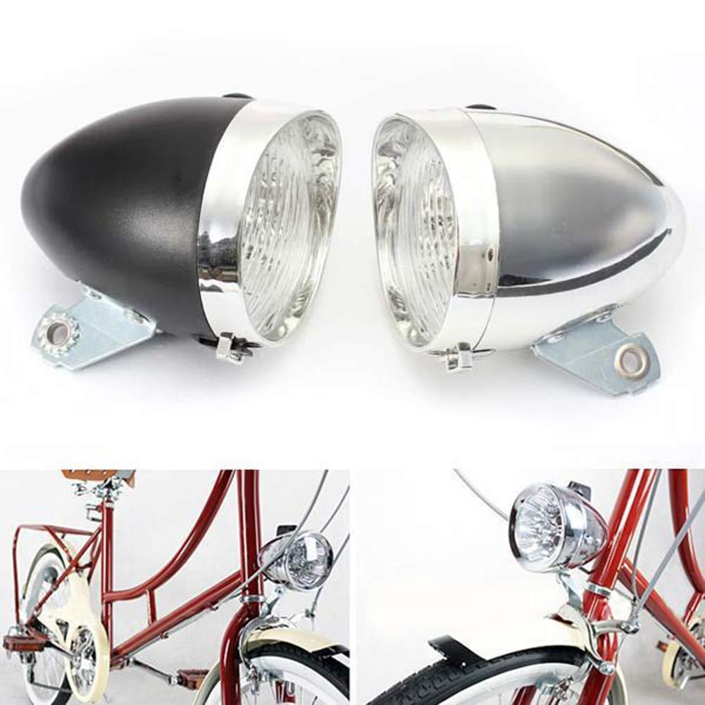 Powerfulline 3 LED 2Modes Bicycle Bike Front Light Lamp Headlight Vintage Flashlight Headlamp