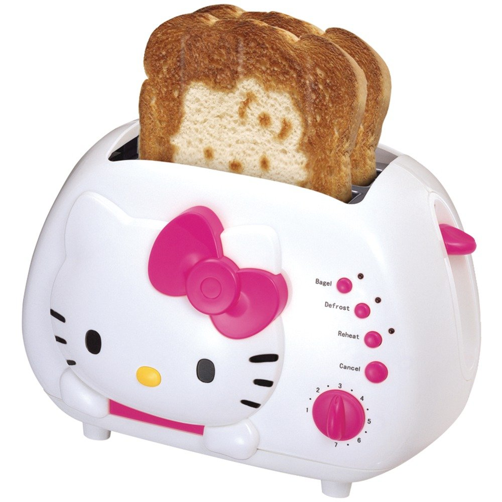 amazoncom hello kitty 2 slice wide slot toaster with cool touch exterior kitchen dining