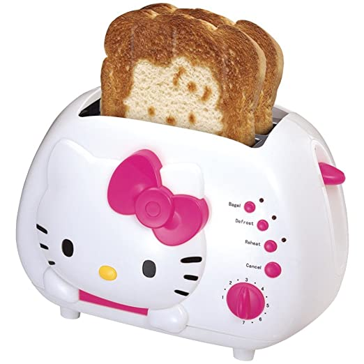 Hello Kitty 2-Slice Wide Slot Toaster With Cool Touch Exterior Oven Toaster Grills at amazon