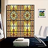 """(Set of 2 Panels) OstepDecor Custom Translucent Non-Adhesive Frosted Stained Glass Window Films, 2 * (24"""" W x 84"""" H)"""