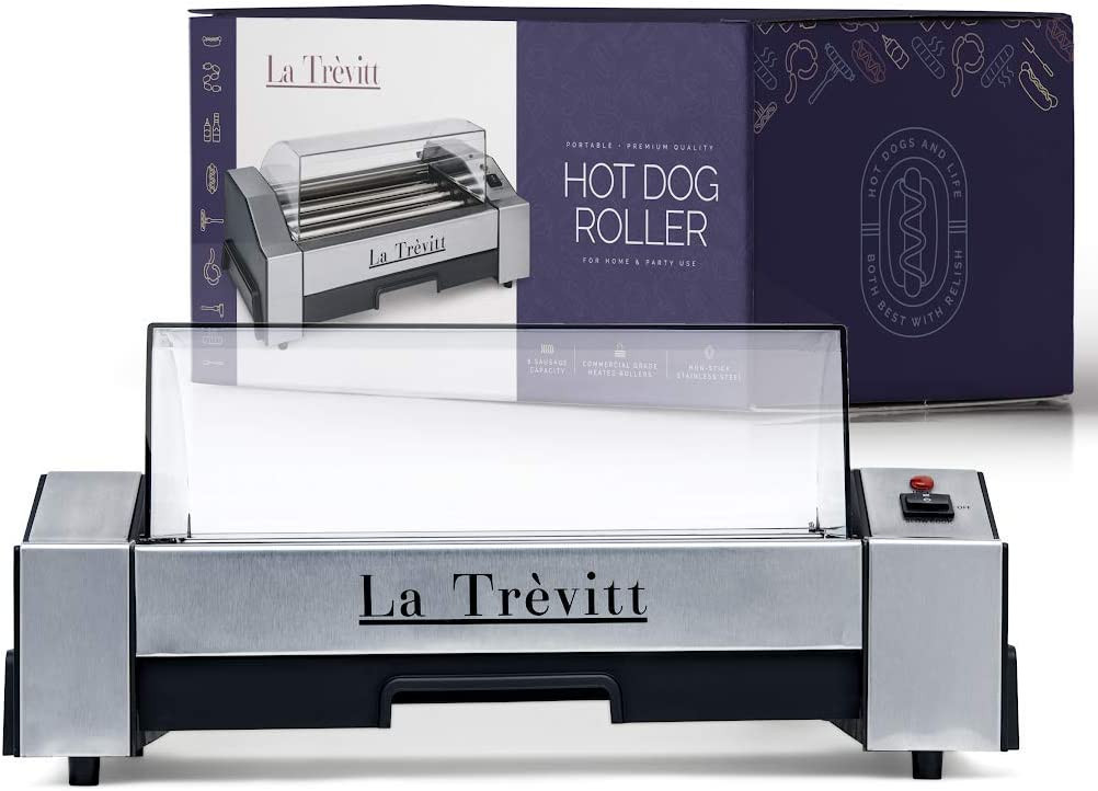 La Trevitt Hot Dog Roller- Sausage Grill Cooker Machine- 6 Hot Dog Capacity - Great for Camping and Hiking Trips Hot Dog Machine for Family Use