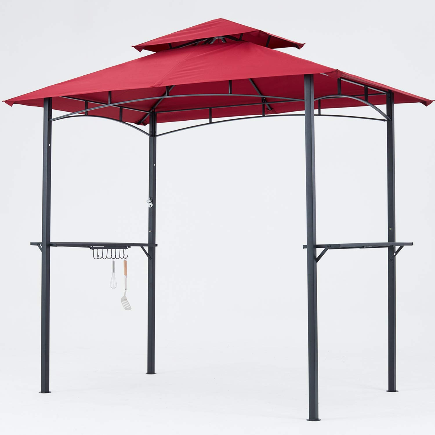 MASTERCANOPY Grill Gazebo 8 x 5 Double Tiered Outdoor BBQ Gazebo Canopy (Burgundy) by MasterCanopy