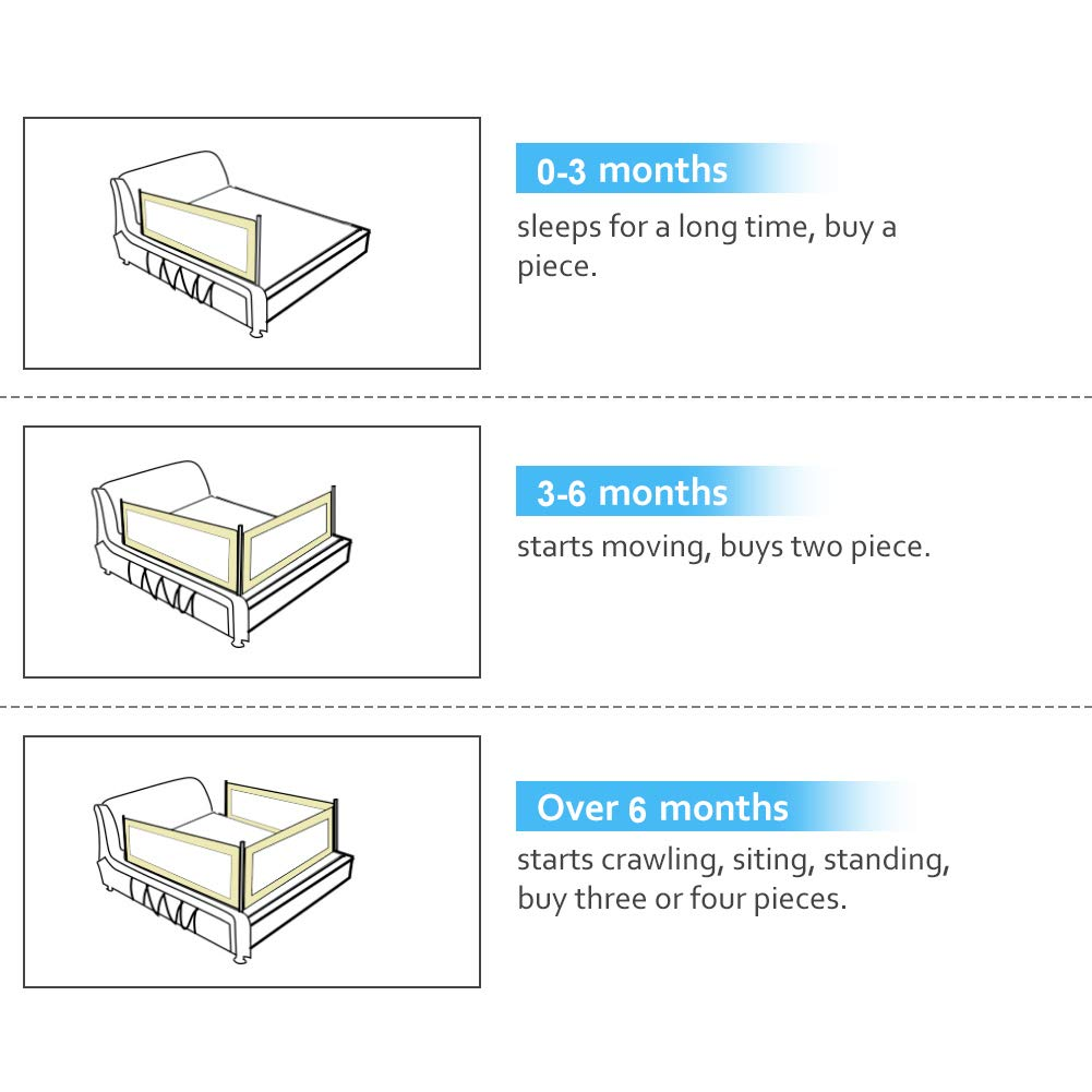 Bettgitter kinder 2M Tragbares Faltbar bettschutzgitter,kinderbett schutz gitter babybett bettschutzgitter Beige Geeignet f/ür Massivholzbetten 1.8M//2M