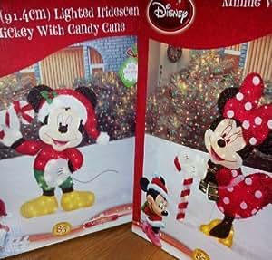 "Amazon.com : RARE Disney Minnie & Mickey Mouse 36"" Holiday Christmas Pre Lit Tinsel Yard Art ..."