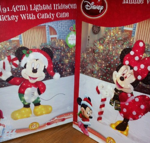amazoncom rare disney minnie mickey mouse 36 holiday christmas pre lit tinsel yard art garden outdoor - Mickey Mouse Christmas Lawn Decorations