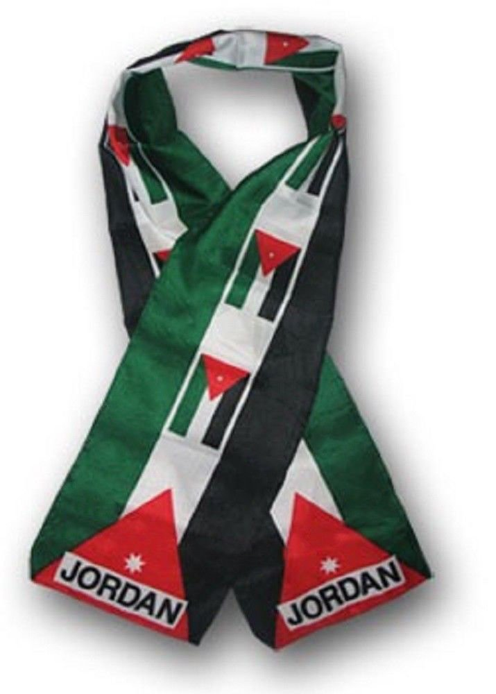 Set of 6 Jordan Country Lightweight Flag Printed Knitted Style Scarf 8''x60'' by K's Novelties