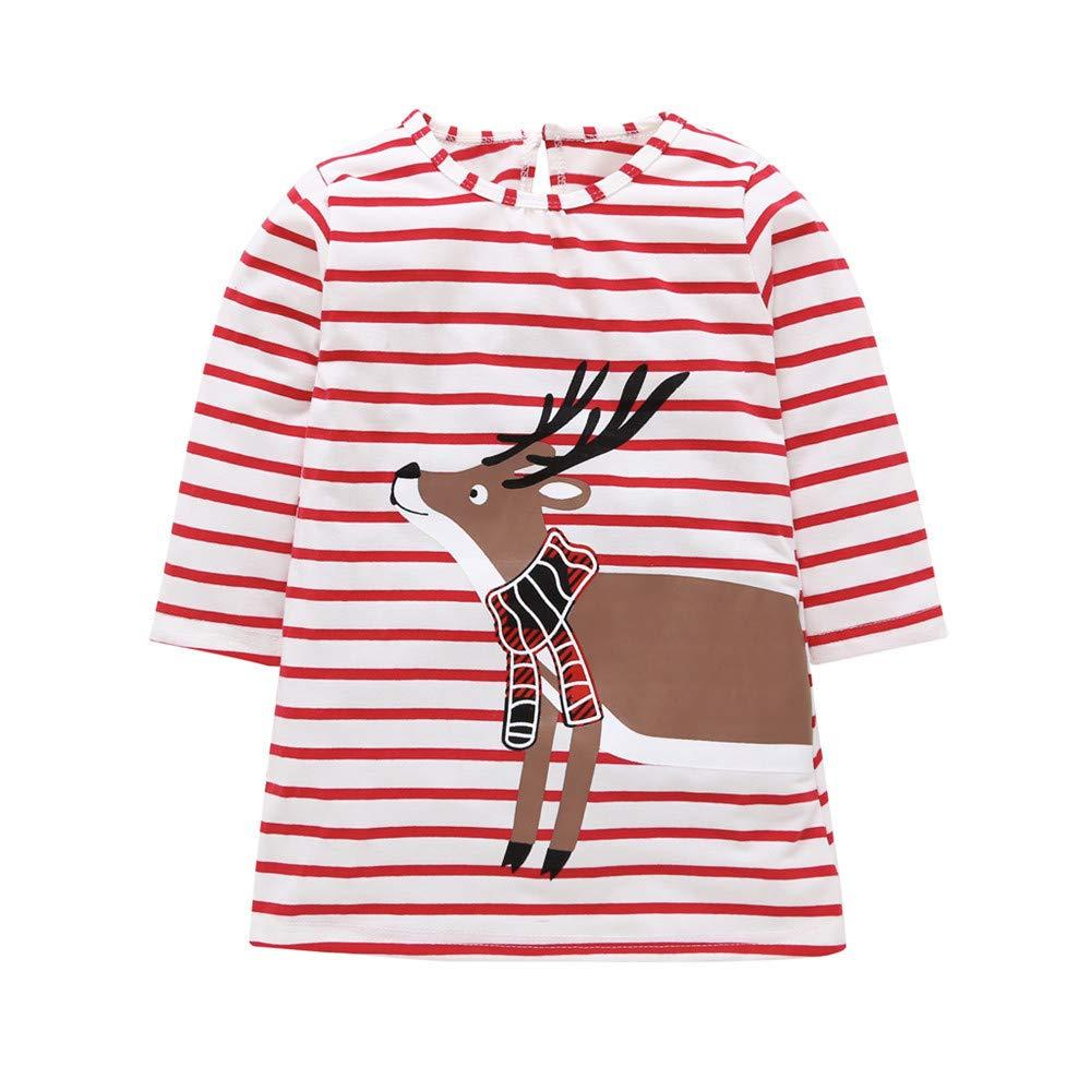 Culater Xmas Natale Bambina Cervi Svegli del Fumetto Vestito da Principessa Invernale a Righe Top T-Shirt di Natale Set MK-1203