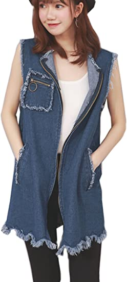 cheap wholesale online free shipping Flygo Women's Plus Size Denim Vest Casual Loose Sleeveless Zip ...