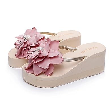 Aelegant Sommer Mädchen Damen Süße Hausschuhe mit Cottonrose Hibiscus Blumen Flip-Flops Strand Sandalen Pantoffeln Zehntrenner Strandschuhe (37, Beige)