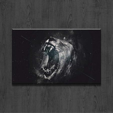 Noir Et Blanc Lion Bouche Ouverte Mur Art Toile Peinture