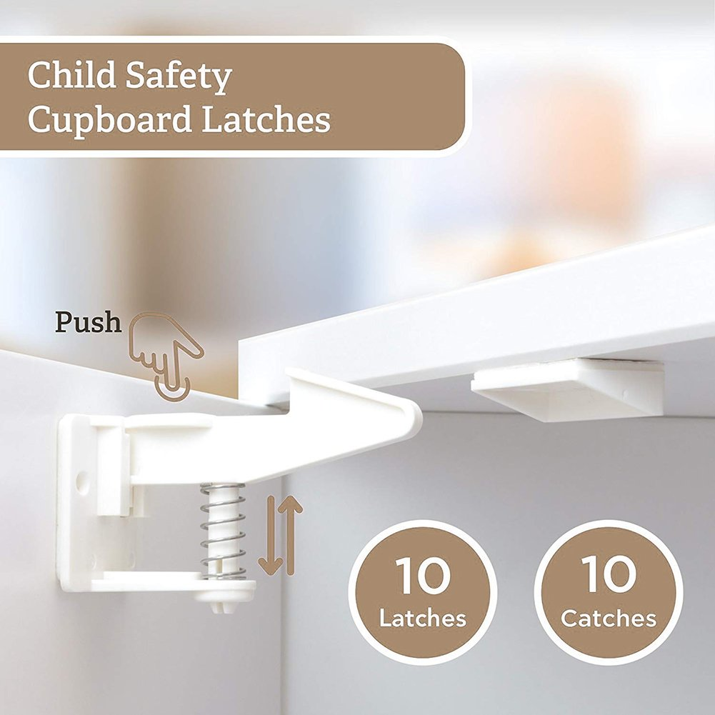 Child Safety Cabinet Locks, No Tools or Key Needed, Invisible and Safe Design, Baby Proof Safety Locks for Drawers, Cabinets, Closets (10 Pack)