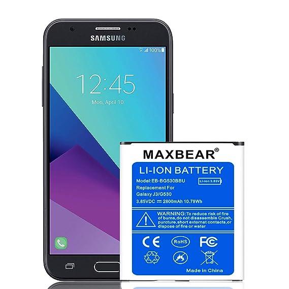 Galaxy J3 Battery,MAXBEAR 2800mAh Replacement Li-ion Battery for Samsung  Galaxy J3 J320A J320V J327A EB-BG530BBC EB-BG530BBE EB-BG530BBU | Galaxy